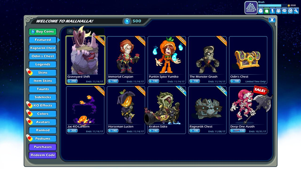 Brawlhalla Boutique page d'accueil
