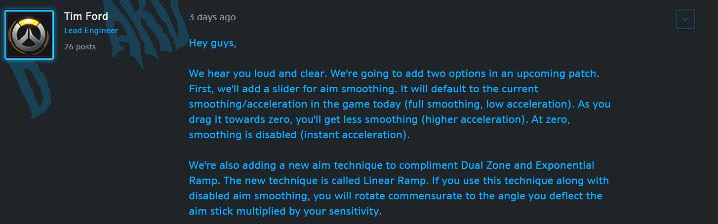 Overwatch message officiel patch