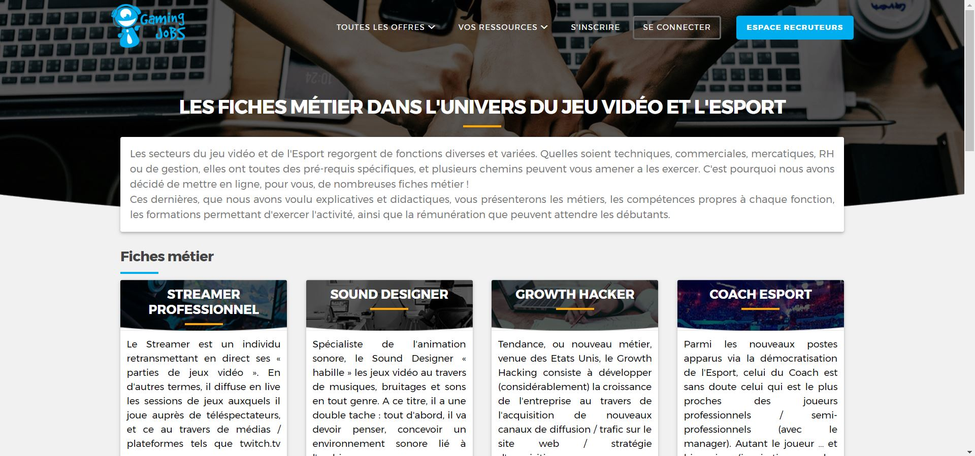 gaming jobs fiches métiers