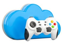 Cloud gaming concept with gamepad, 3D rendering isolated on white background