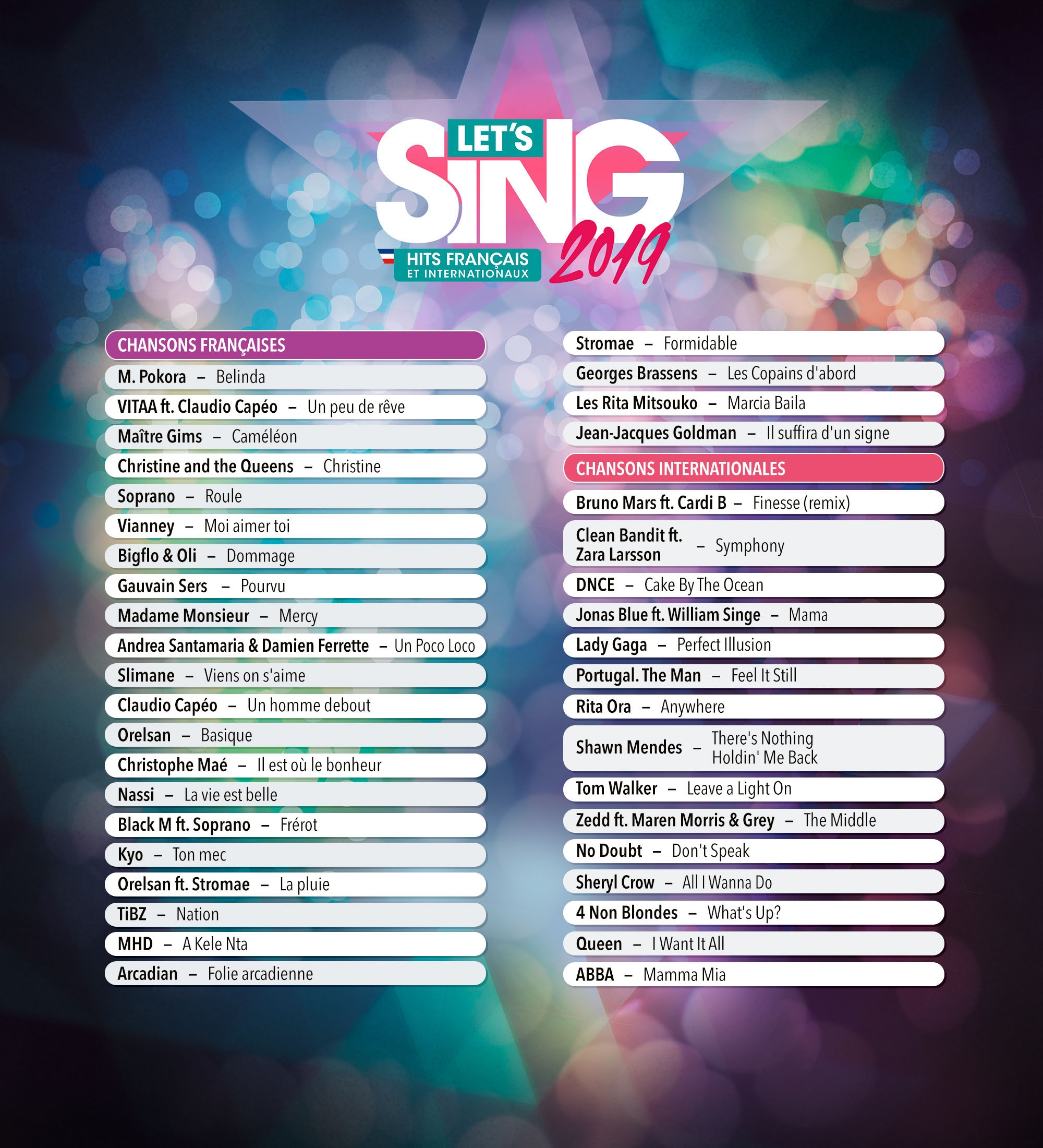 Let's sing 2019 song list